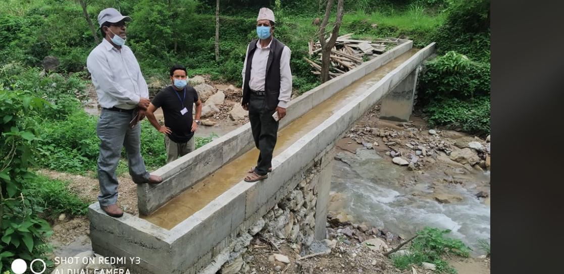 हुँगी स्मार्ट कृषि गाउँ कार्यक्रमबाट निर्माण भएको सिंचाई संरचना